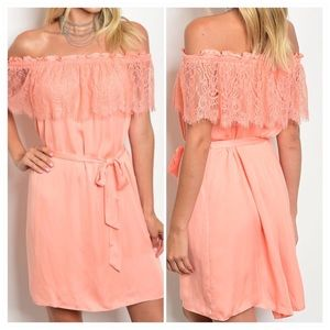 Peach off the shoulder dress with lace detail